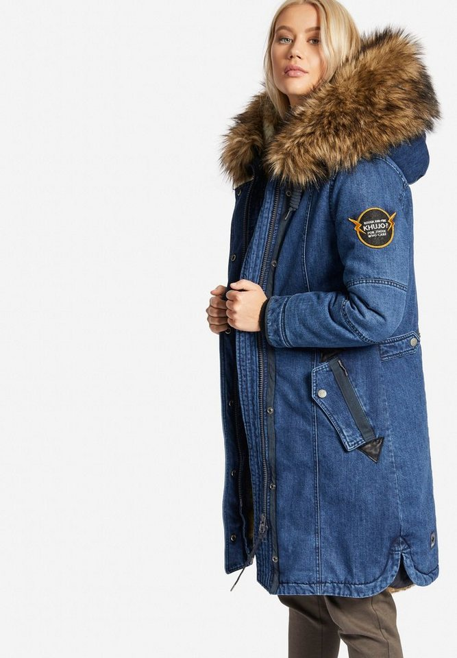 khujo parka meryem denim  detachable  fur