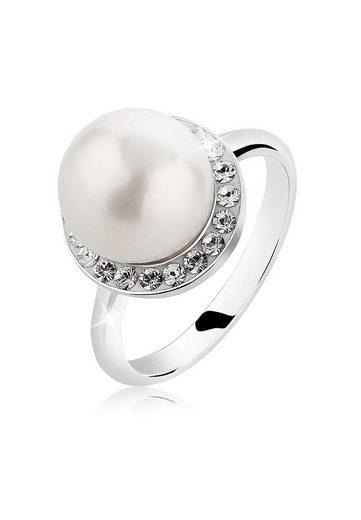 Nenalina Perlenring »Muschelkern-Perle Swarovski® Kristalle 925 Silber«