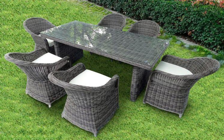 BAIDANI Gartenmöbelset »Spring «, 7-tlg., 6 Stühle, Tisch 90x180 cm, inkl. Auflage