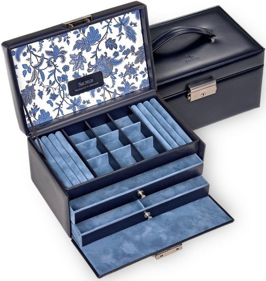 Sacher Schmuckkoffer »Elly/Florage, 25.501.014.008«, mit floralem Muster innen im Deckel, Made in Germany | Schmuck > Schmuckaufbewahrungen | Blau | Sacher