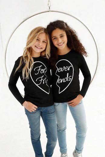Arizona Langarmshirt »Forever Friends« (Packung, 2-tlg) mit Foliendruck