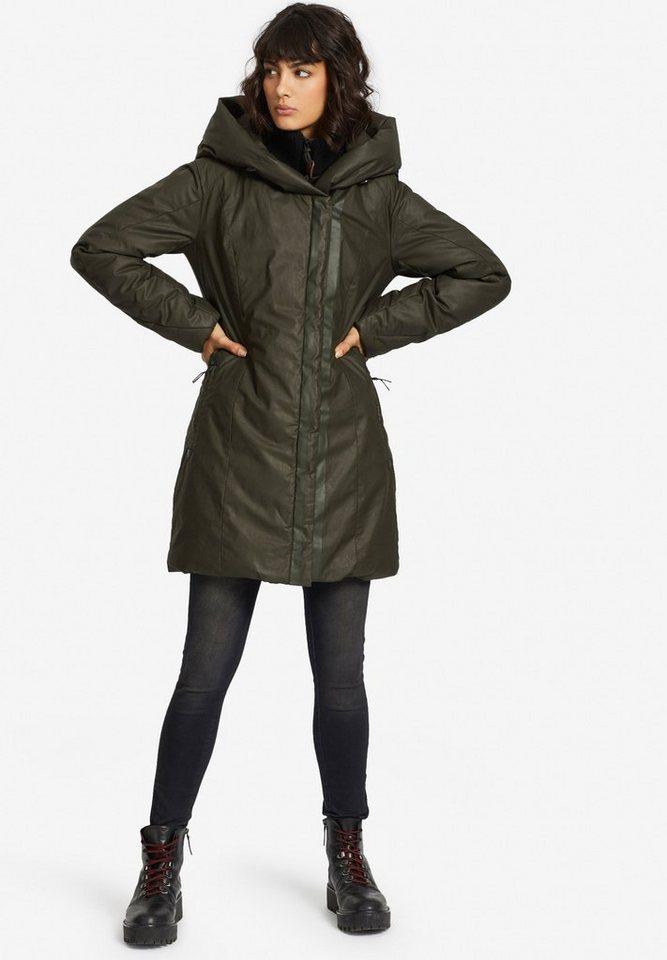Damen khujo  Wintermantel AUDREY mit großer Kapuze grün | 04056852583006