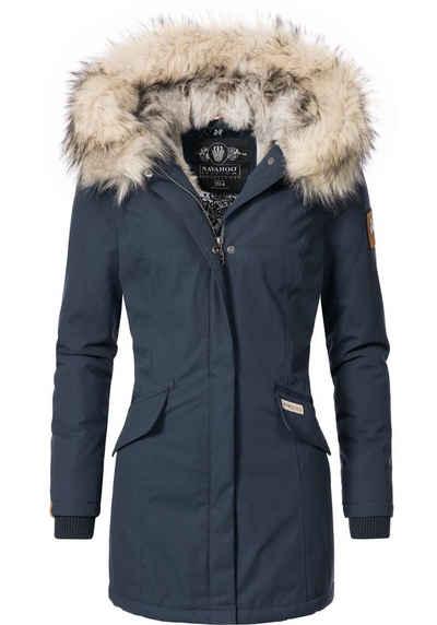 Navahoo Wintermantel »Cristal« stylischer Damen Winterparka mit Kunstfell-Kapuze