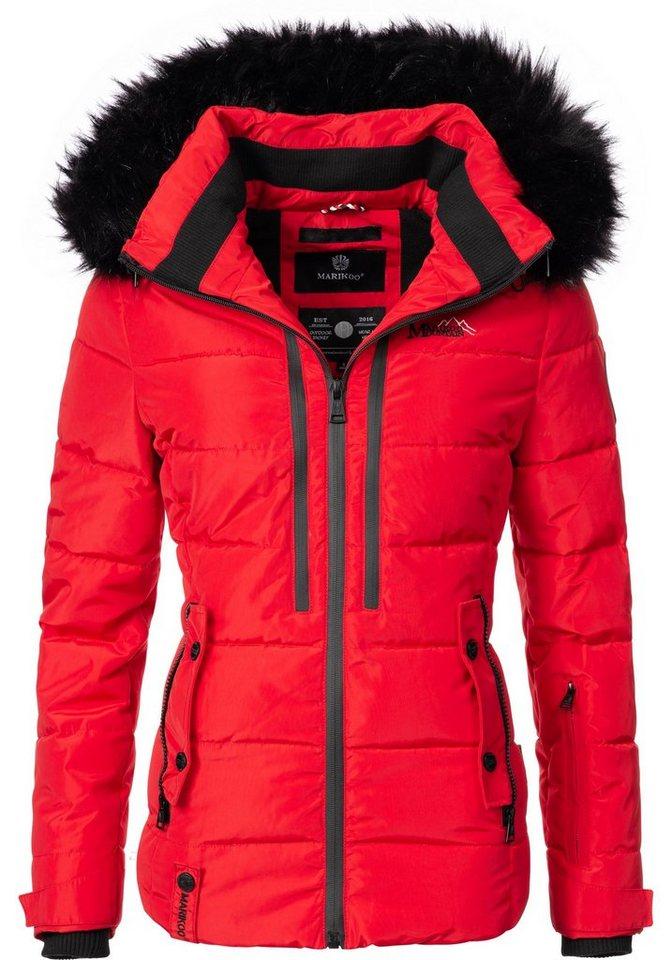 Marikoo Winterjacke »Snowgirl« sportliche Damen Steppjacke mit Kunstfellkapuze | Sportbekleidung > Sportjacken > Steppjacken | Rot | Marikoo