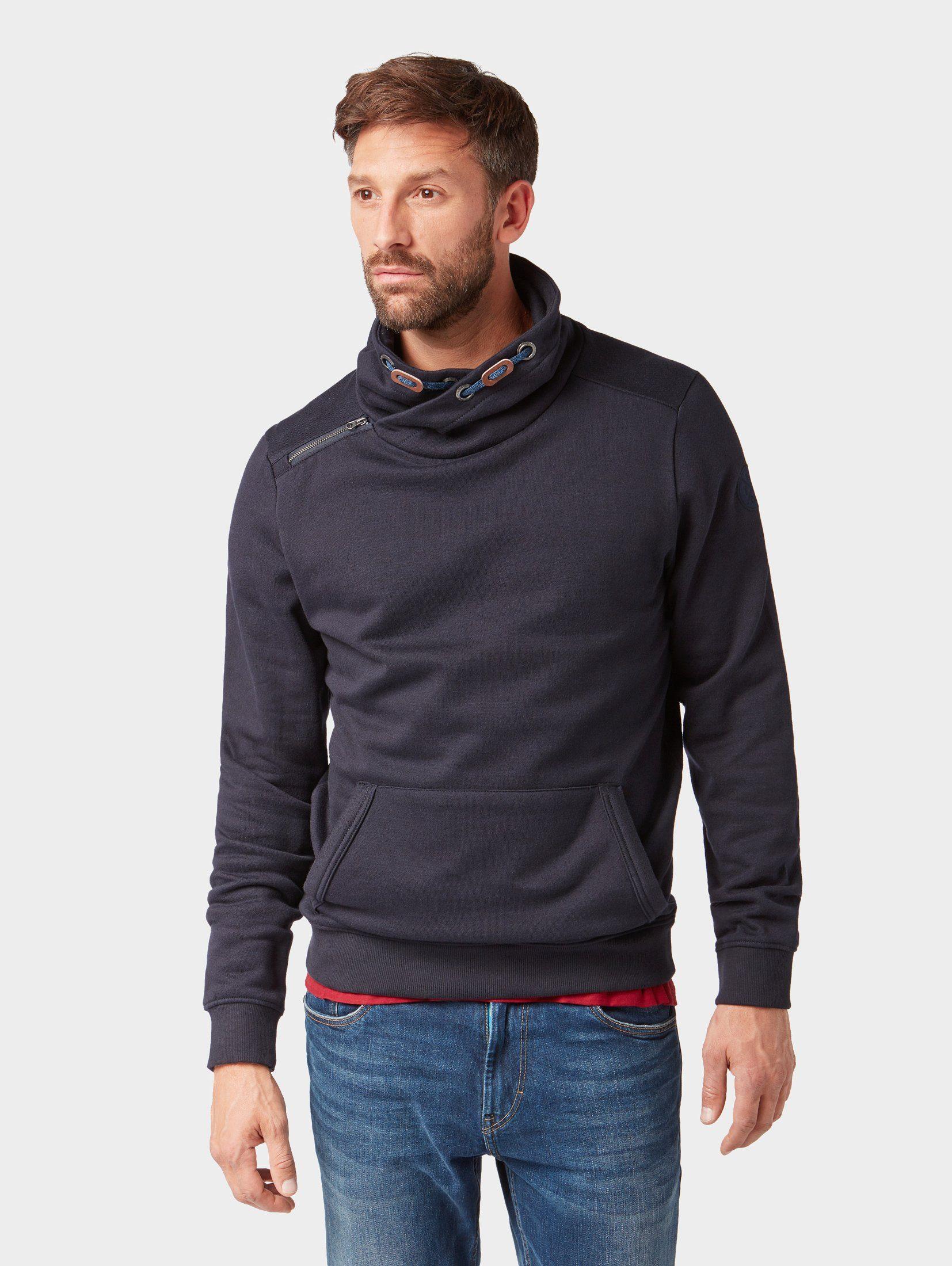 TOM TAILOR Sweatshirt »Sweathshirt mit verstellbarem Stehkragen«