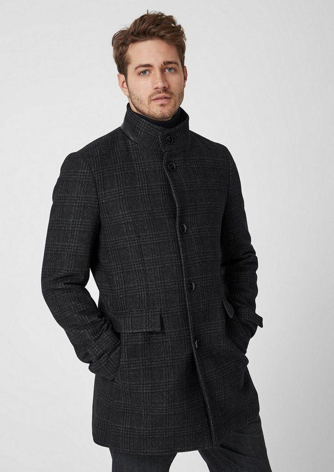 Herren s.Oliver BLACK LABEL Modern Fit: Wollmantel mit Stehkragen schwarz   04060843443576
