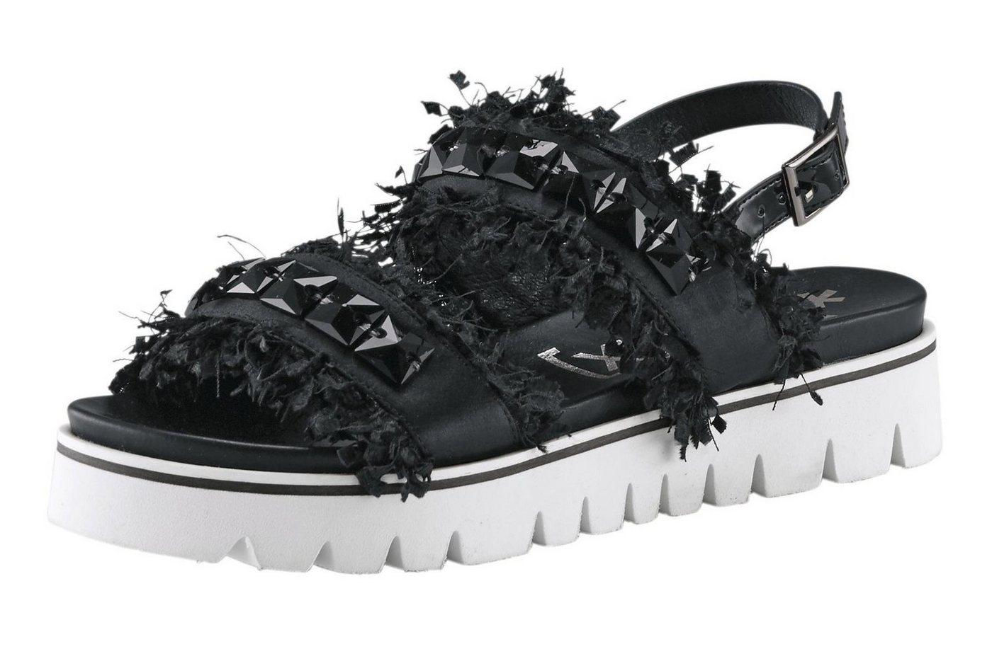 xyxyx -  Sandalette mit Schmucksteinchen und Fransen