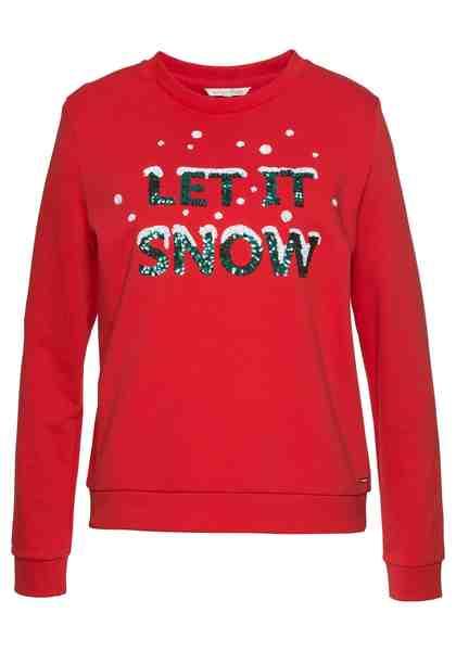 Tom Tailor Denim Sweatshirt mit Weihnachtsmotiv aus Pailletten