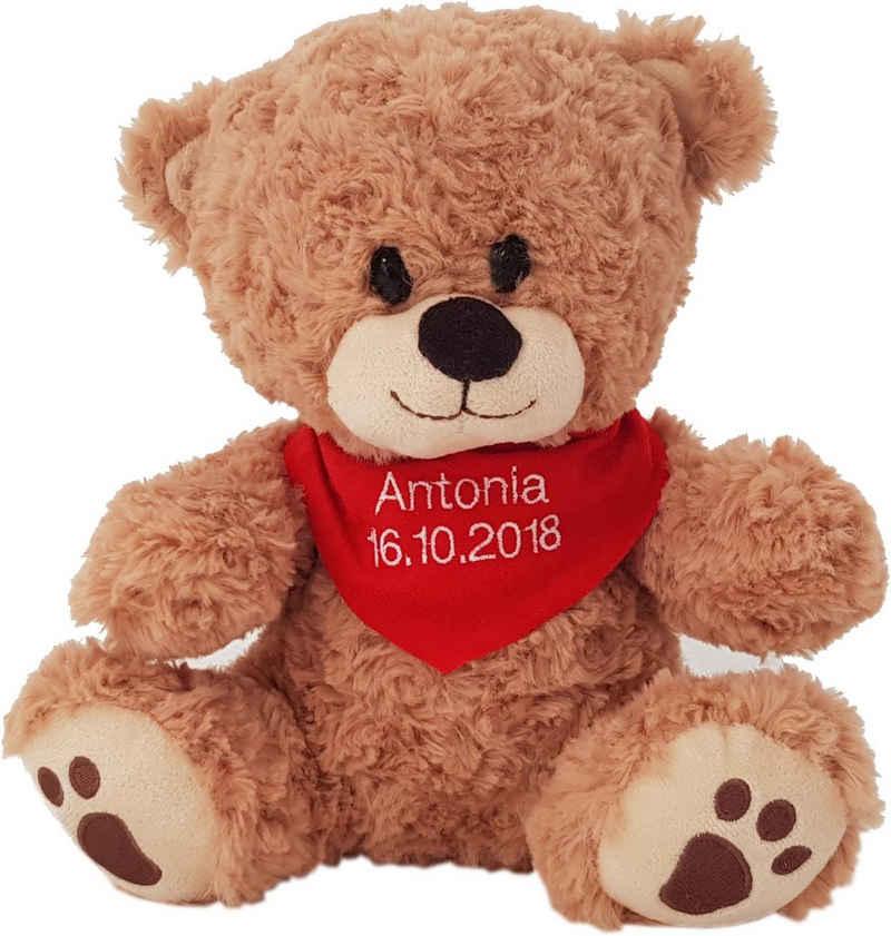 Heunec® Kuscheltier »Bär, sitzend mit rotem Halstuch«, mit individuell bestickbarem Halstuch