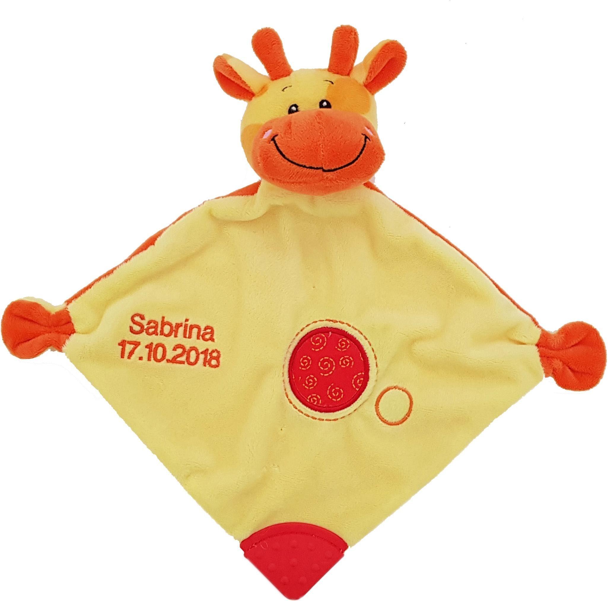 Heunec® Schnuffeltuch »Giraffe«, (1-tlg), mit Rassel und Beißelement