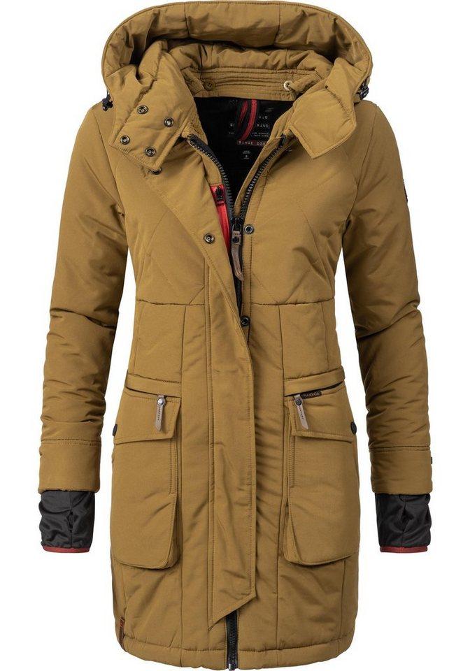 Damen khujo  Wintermantel Yolanda hochwertiger Winter Parka mit Kapuze gelb | 04056852916378