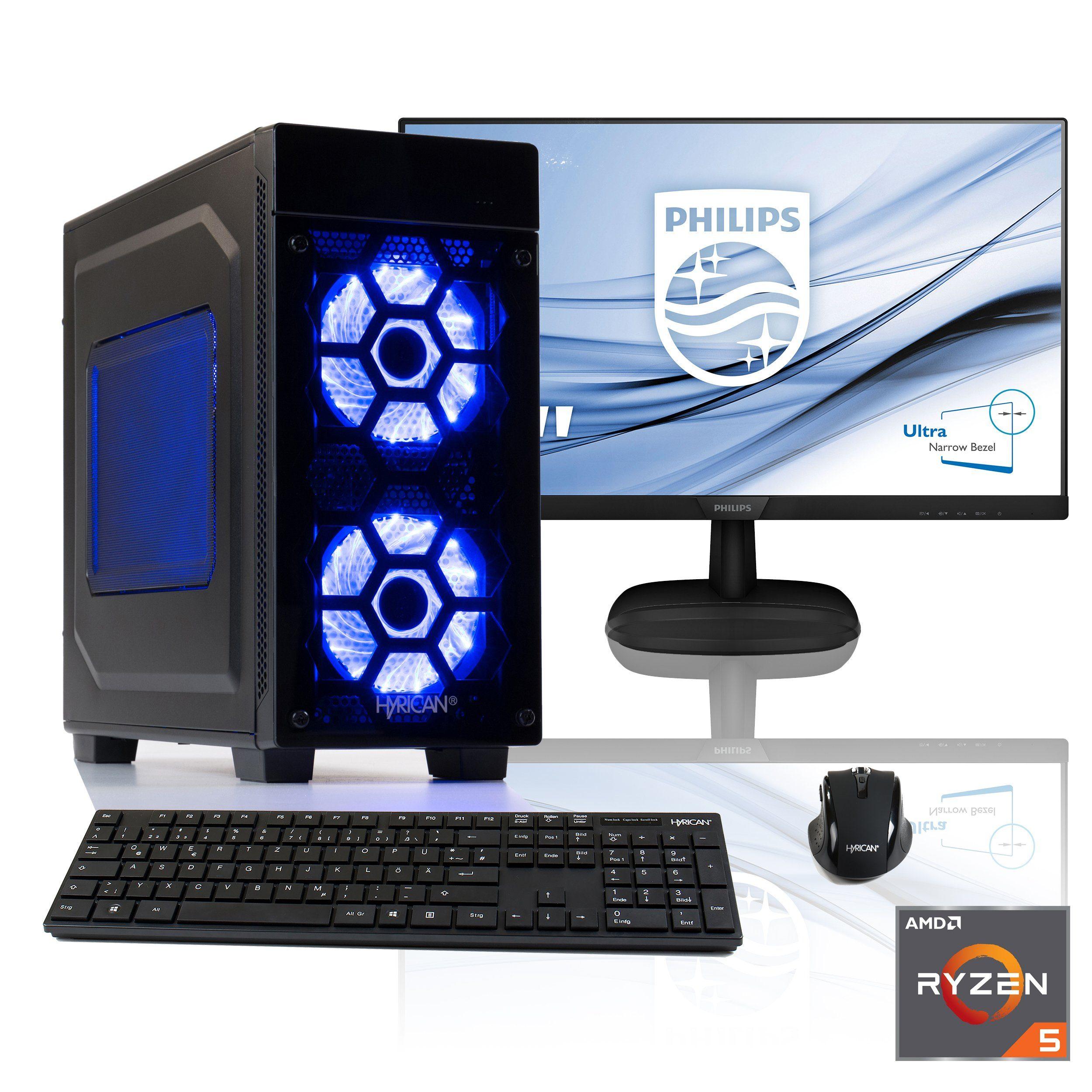 "HYRICAN Gaming PC Ryzen 5 2400G, Radeon Vega 11 + 68,6cm (27"") TFT »Striker SET1691«"