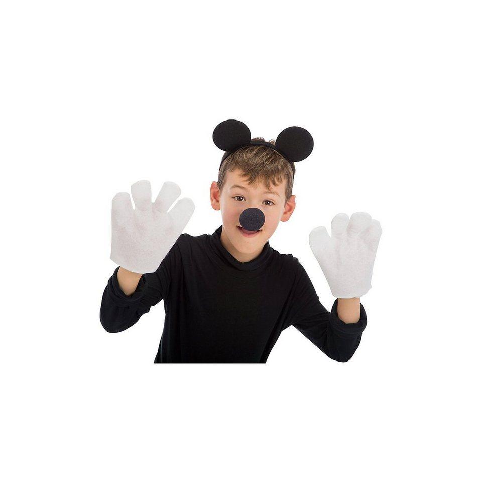 Maus-Set (Haarreif mit Ohren, Nase, Handschuhen), 3-tlg. online kaufen