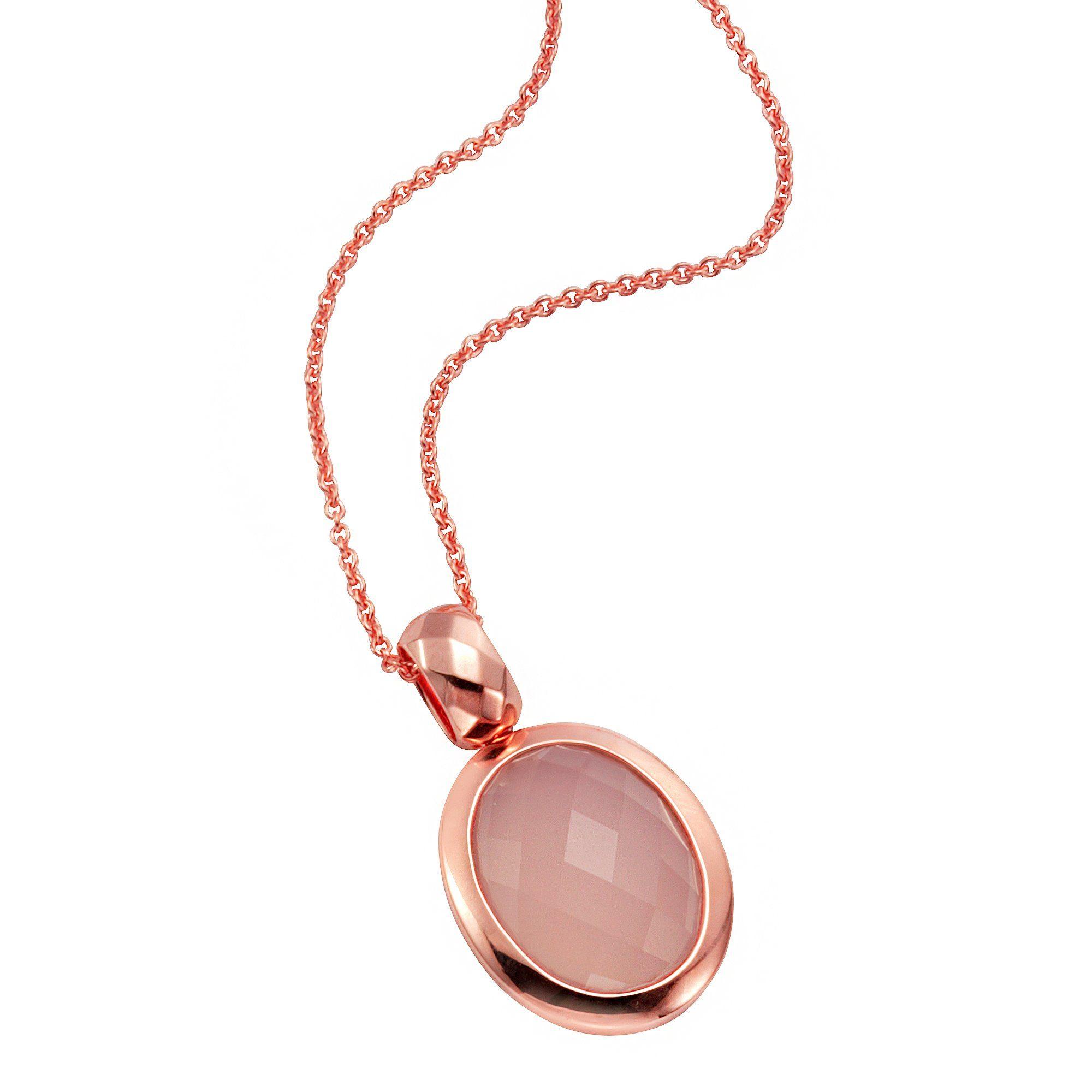 Jamelli Anhänger mit Kette »925/- Sterling Silber rosévergoldet Chalcedon«