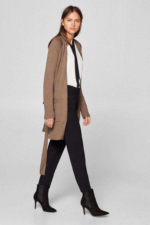 Esprit Collection Long-Cardigan mit Schalkragen und Gürtel