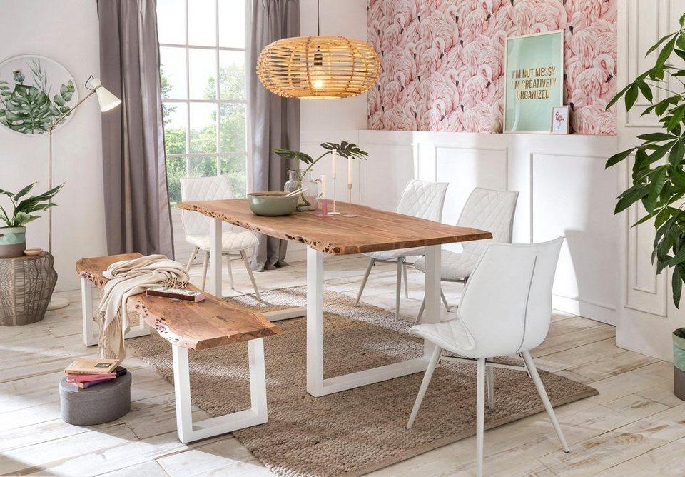 premium collection by home affaire esstisch manhattan mit baumkantenoptik und gestell u form. Black Bedroom Furniture Sets. Home Design Ideas