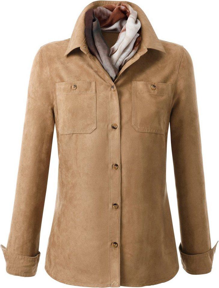 Damen Collection L. Bluse aus weichem Veloursleder-Imitat braun | 08935241129321