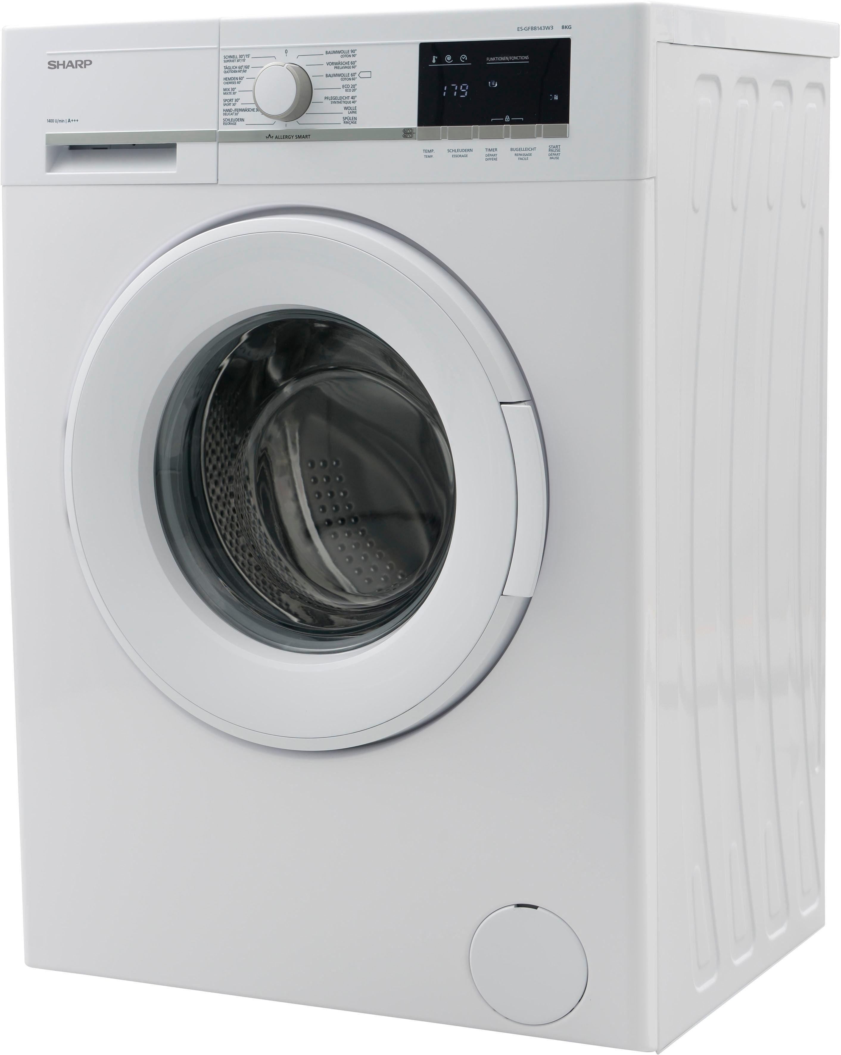 Sharp Waschmaschine ES-GFB8143W3-DE, 8 kg, 1400 U/Min