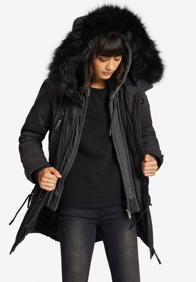 Damen khujo  Wintermantel FREJA2 WITH INNER JACKET mit Sweat-Einsatz grau | 04056852206363