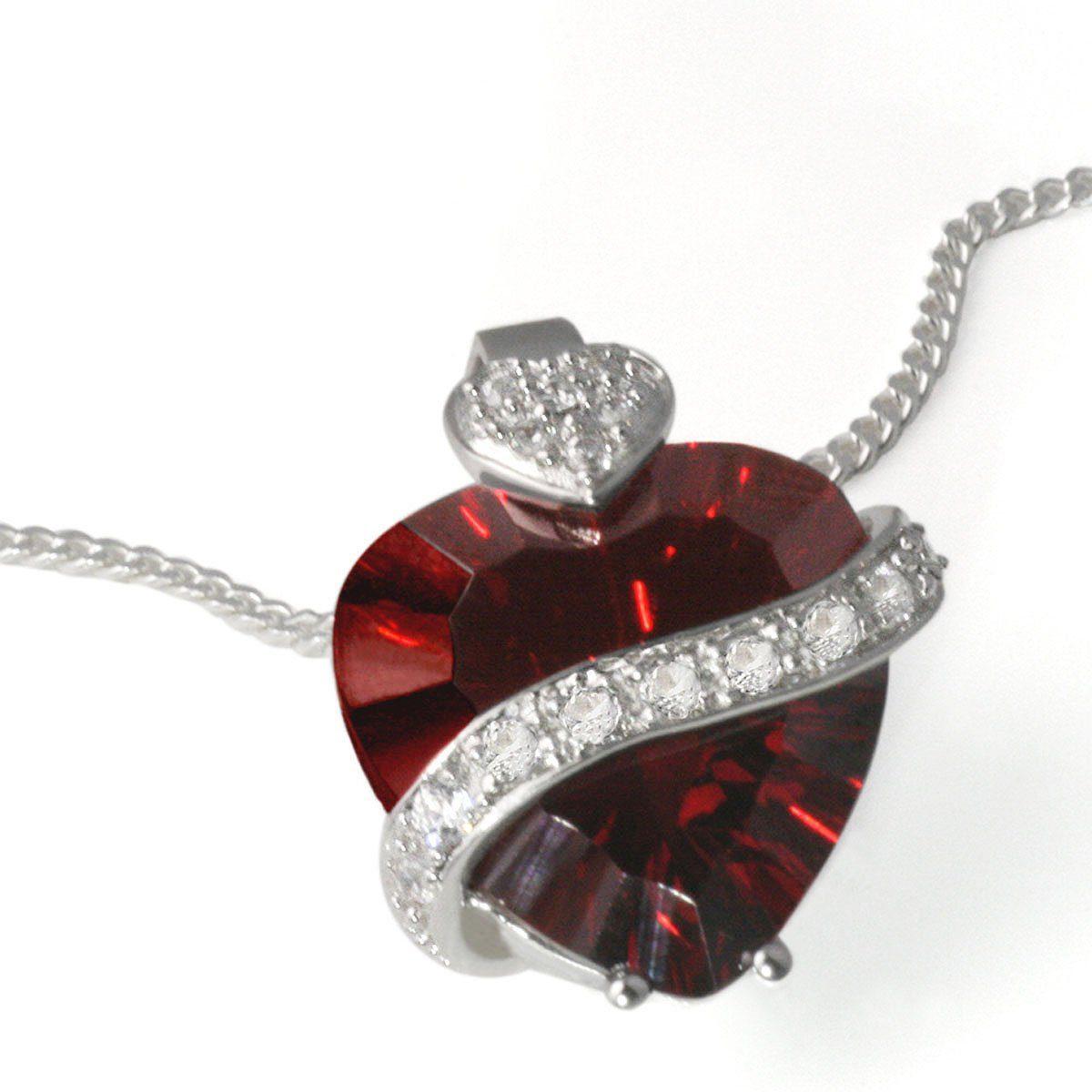 goldmaid Collier Silber 925 Herz im Milleniumcut granatfarbener Zirkonia