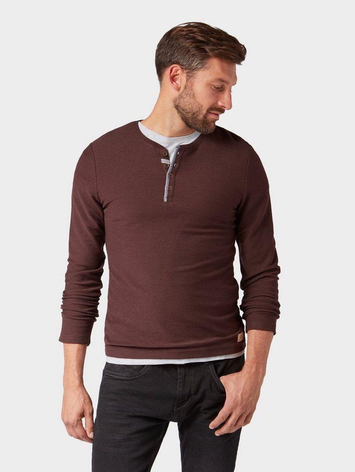 Herren Tom Tailor Langarmshirt Langarmshirt mit Henley-Kragen rot | 04060868876373