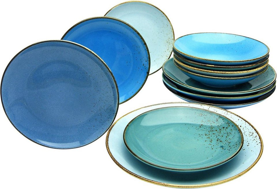 creatable tafelservice nature collection aqua 12 tlg steinzeug online kaufen otto. Black Bedroom Furniture Sets. Home Design Ideas