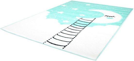 Kinderteppich »Bueno Kids 1314«, Carpet City, rechteckig, Höhe 13 mm, Mond Sterne, handgearbeiteter Konturenschnitt