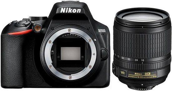 Nikon »D3500 + AF-S DX 18–105 VR« Spiegelreflexkamera (AF-S DX NIKKOR 18–105 mm 1:3,5–5,6G ED VR, 24,2 MP, Bluetooth)
