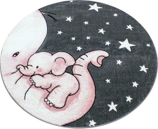 Kinderteppich »Kids 560«, Ayyildiz, rund, Höhe 12 mm, Elefanten Baby Motiv, Kurzflor