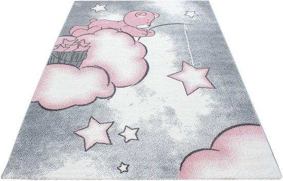 Kinderteppich »Kids 580«, Ayyildiz, rechteckig, Höhe 12 mm, Teddybär, Sterne Design, Kurzflor