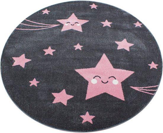 Kinderteppich »Kids 610«, Ayyildiz, rund, Höhe 12 mm, Sterne Motiv, Kurzflor