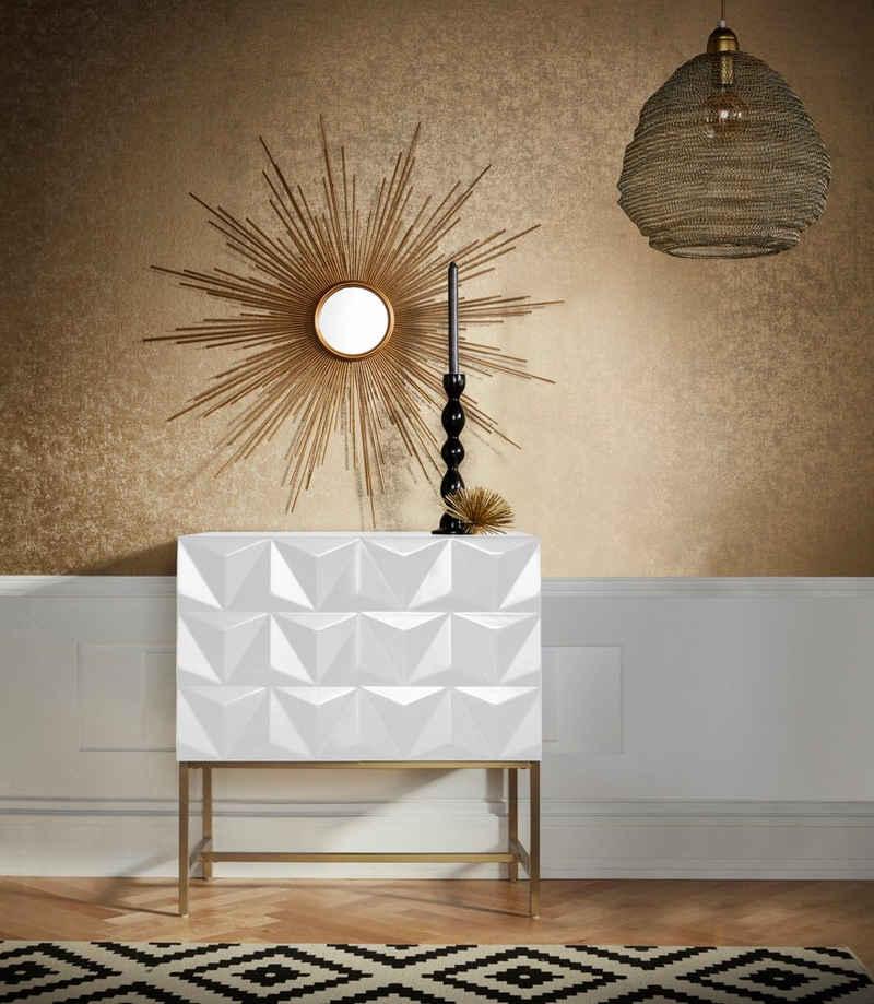 Leonique Sideboard »Rovuma«, in 3D-Optik und goldfarbenem Metallgestell