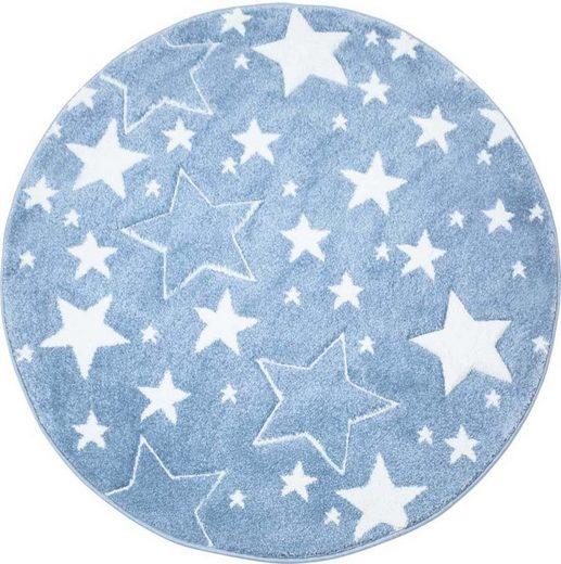Kinderteppich »Bueno Kids 1325«, Carpet City, rund, Höhe 13 mm, Sterne, handgearbeiteter Konturenschnitt