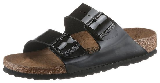 Birkenstock »ARIZONA Patent« Pantolette in glänzender Lack-Optik, Schuhweite: schmal