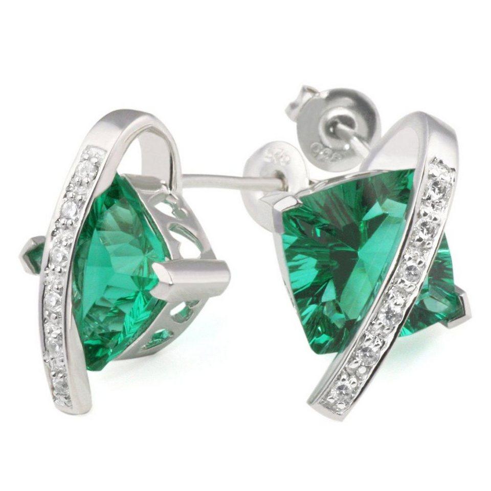 90c7ee5f07b0 goldmaid Paar Ohrringe Silber 925 Milleniumcut smaragdgrüne Zirkonia ...