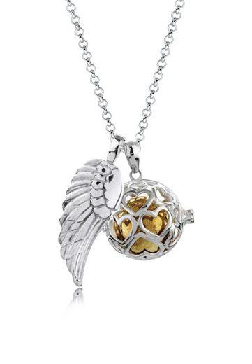 Nenalina Kette mit Anhänger »Engelsflüsterer Herz Flügel (25 mm) 925 Silber«