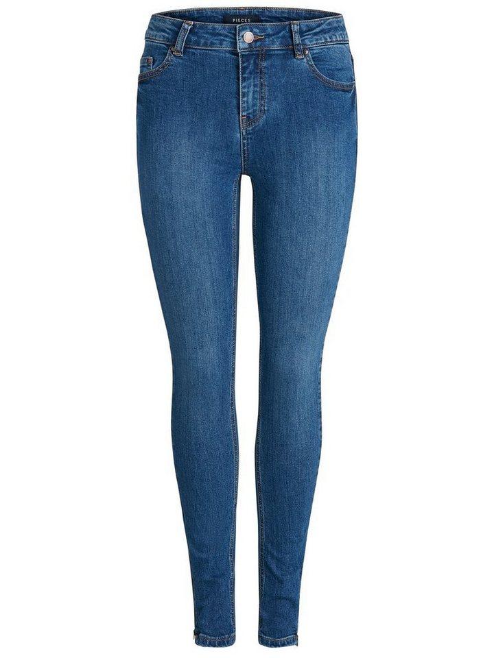 Damen Pieces Mid Waist Skinny Ankle 7 8-Jeans blau   05713745647960