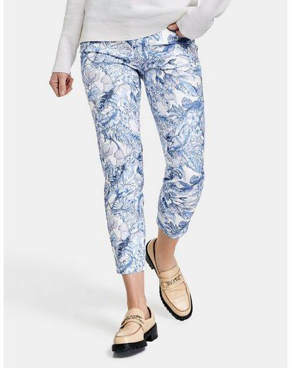 GERRY WEBER 7/8-Jeans »7/8 Jeans mit Blumenmuster Regular Fit« (1-tlg) Hose