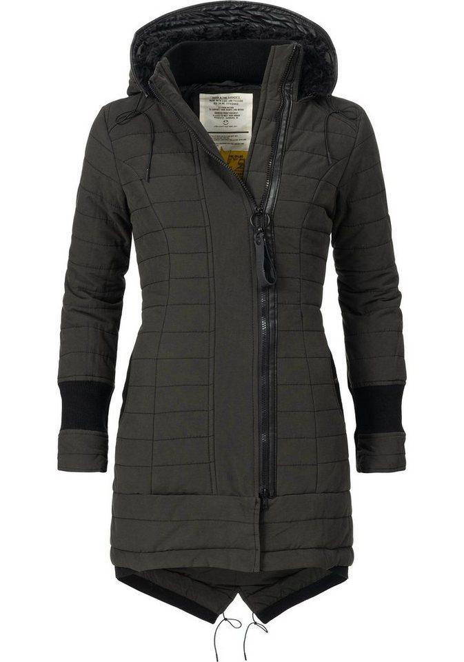 khujo parka cayus stylischer winter mantel mit gro er. Black Bedroom Furniture Sets. Home Design Ideas