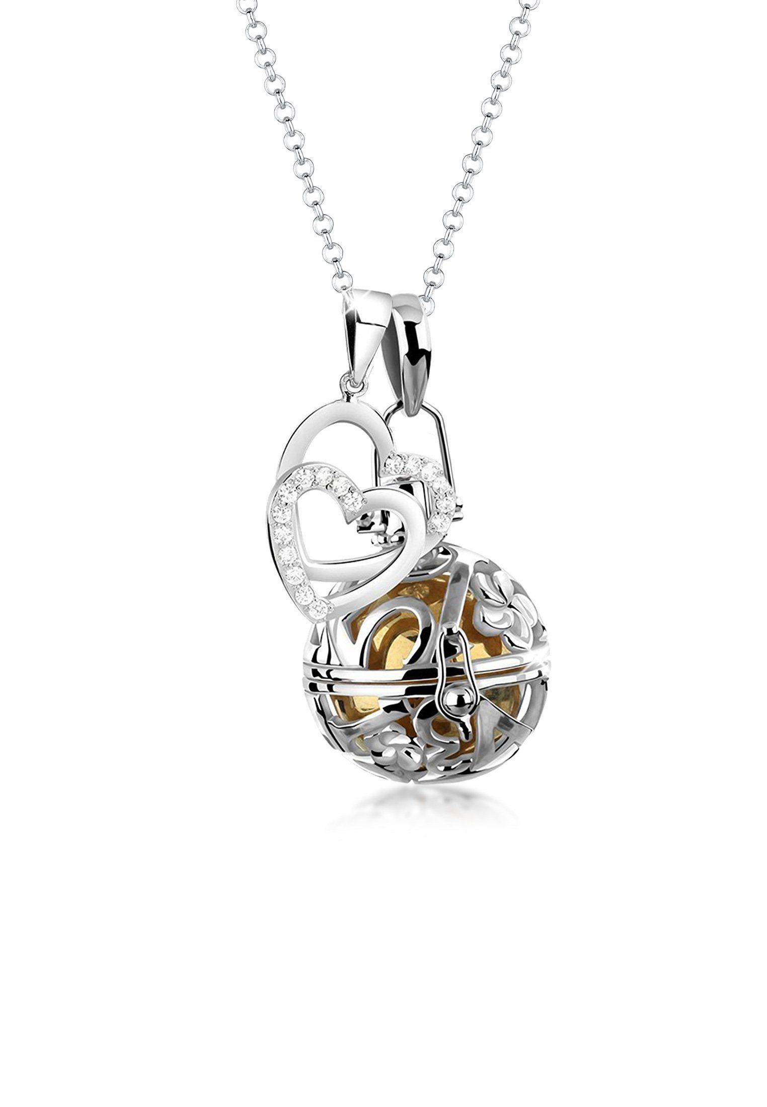 Nenalina Kette mit Anhänger »Engelsflüsterer Herz Zirkonia Talisman 925 Silber«