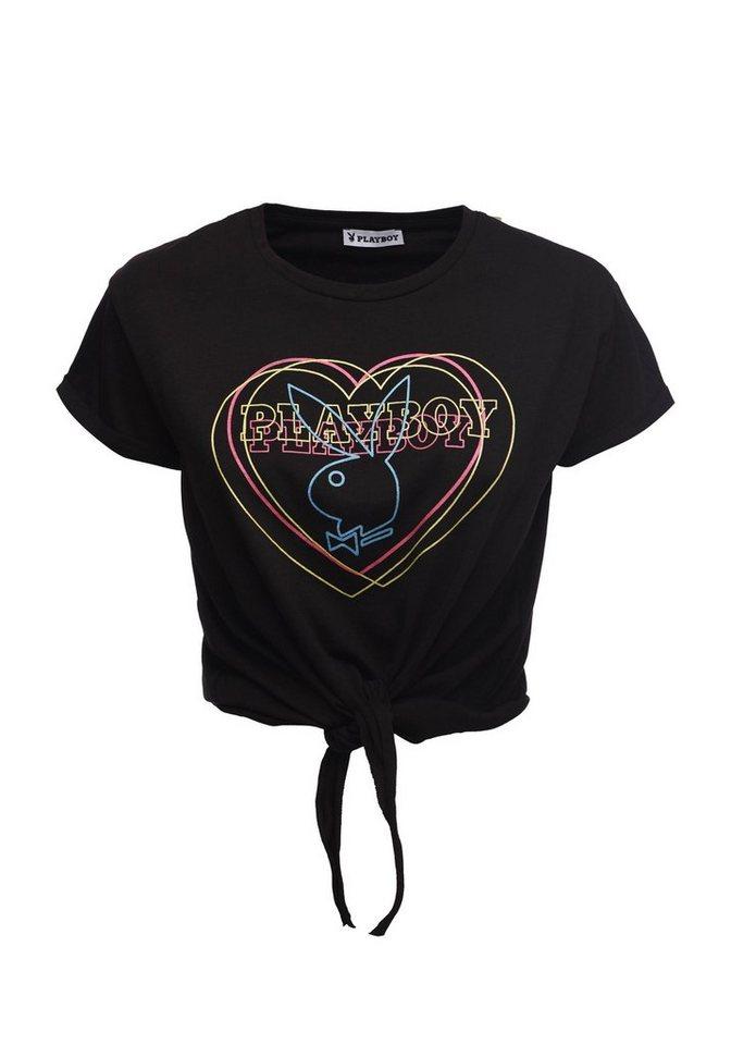 Playboy Rundhals-Shirt mit Bindedetail | Bekleidung > Shirts > Rundhalsshirts | Schwarz | Jeans - Baumwolle | PLAYBOY