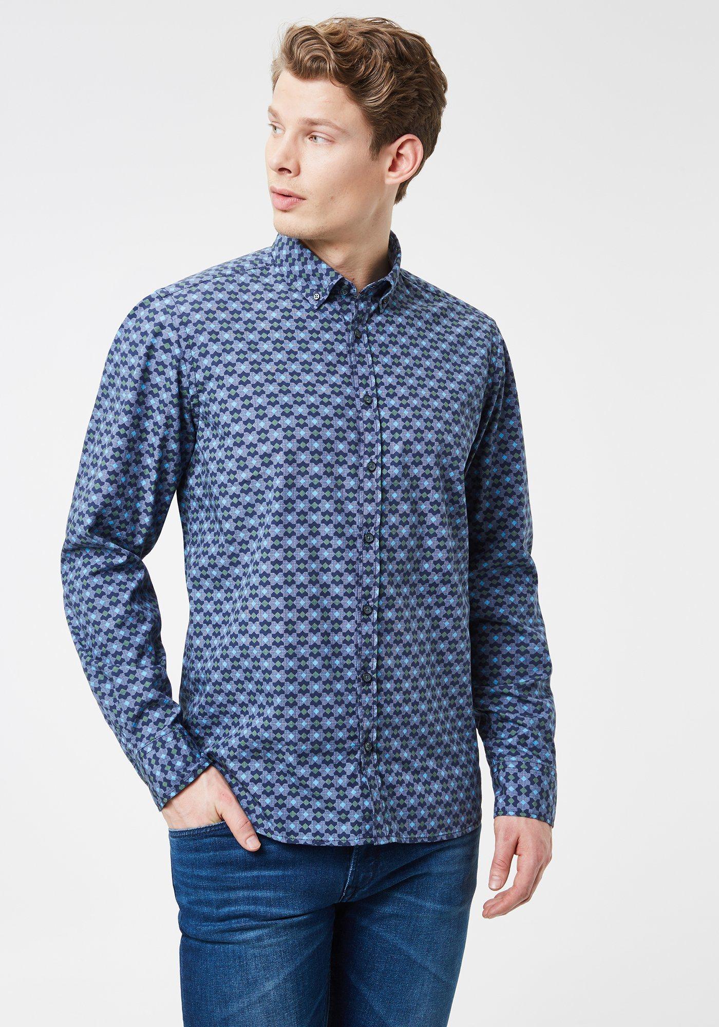 Otto Kern Hemd »Gemustertes Popelinehemd mit Grafikprint - Modern« | Bekleidung > Hemden > Sonstige Hemden | Blau | Baumwolle | Otto Kern