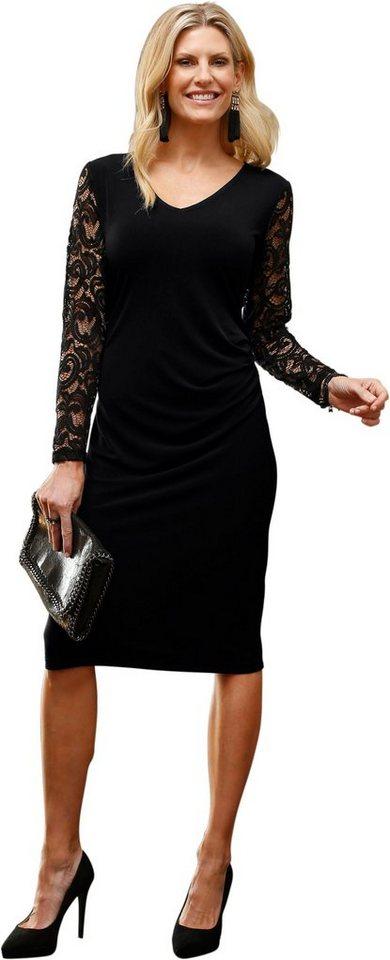 Damen Classic Basics Kleid mit Ärmel aus transparenter Spitze schwarz | 08934958063348