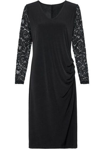 - Damen Classic Basics Kleid mit Ärmel aus transparenter Spitze schwarz | 08934958063348
