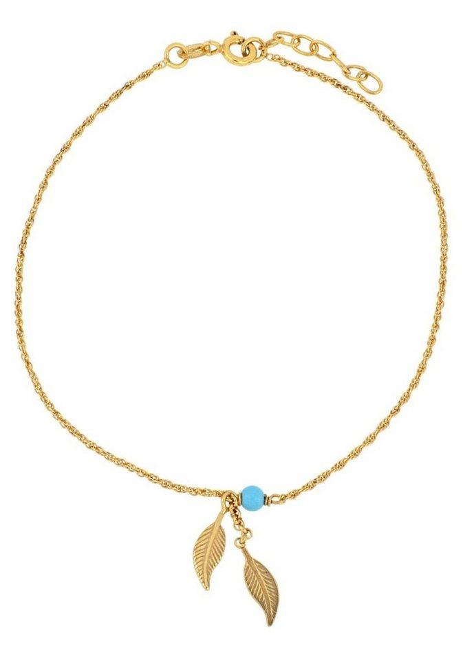 Firetti Fußkette »Blätter« mit Türkis und filigranen Elementen | Schmuck > Fußschmuck | Goldfarben | Firetti