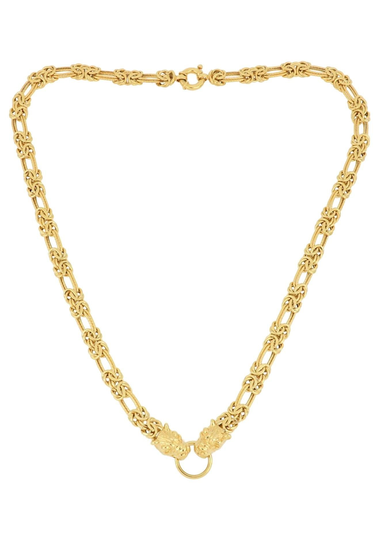Firetti Collier Diamantiert, halbmassiv, mit zwei Tierköpfen und Ring