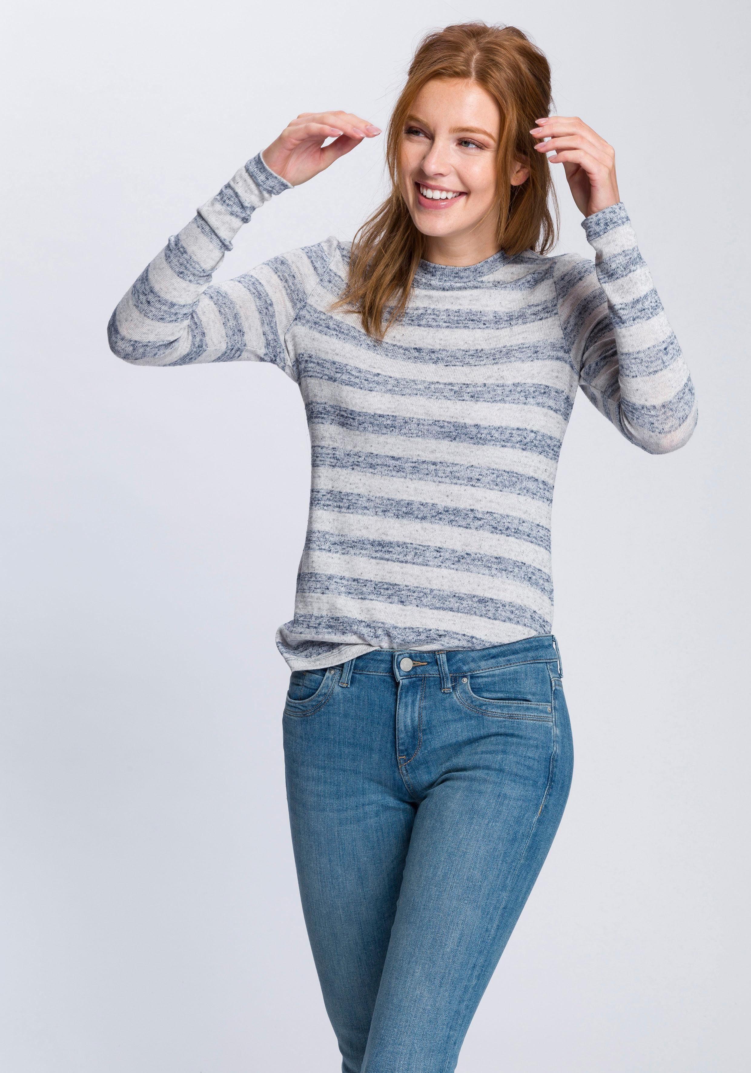 Esprit Langarmshirt mit Streifen, Pflegeleichter Feinstrick online kaufen | OTTO