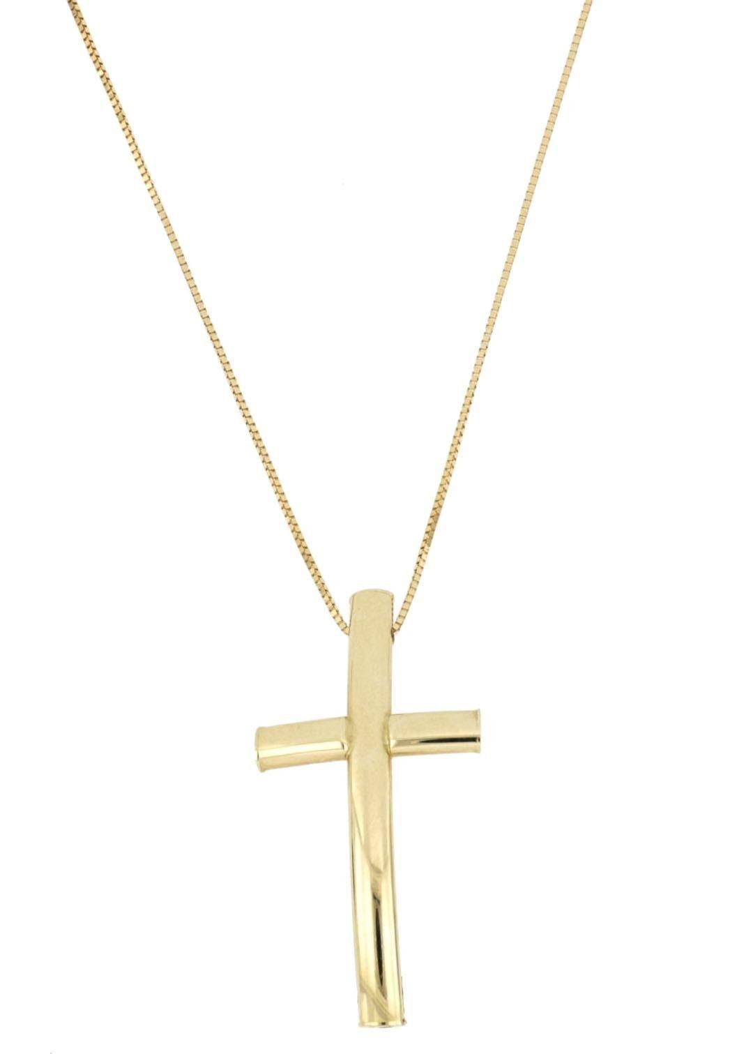Firetti Kette mit Anhänger Kreuz gebogen, Glanz