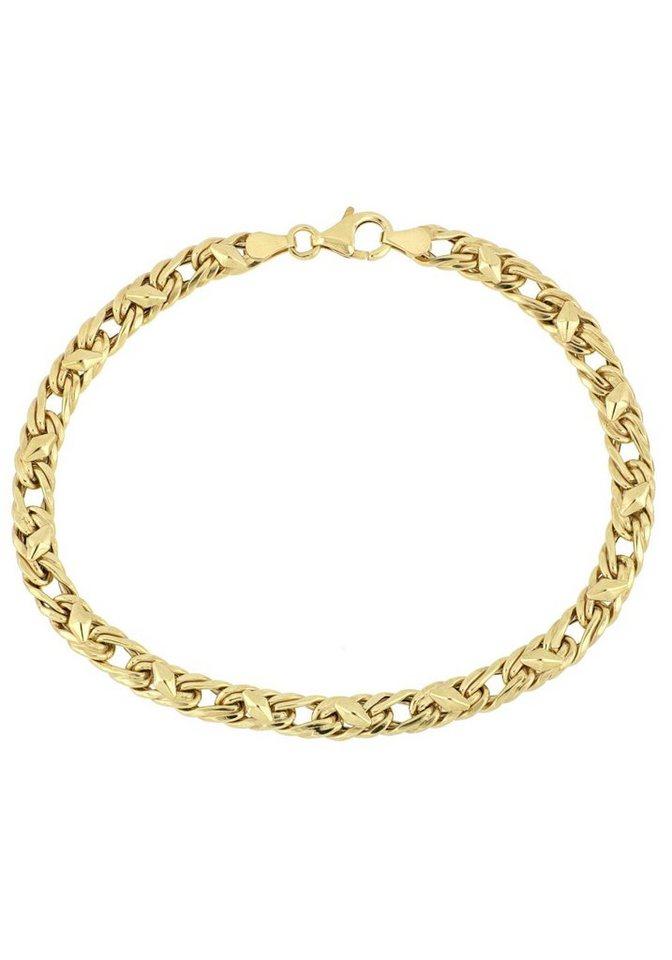 Firetti Goldarmband »Fantasiekettengliederung mit rautenförmigen Plättchen, 5,2 mm«   Schmuck > Armbänder > Goldarmbänder   Goldfarben   Firetti