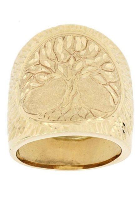 Firetti Goldring Baum des Lebens Diamantschnitt glanz satiniert diamantiert